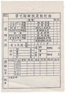 Wwii Ww Original Japanese Agm Zero Type O Fighter Check Out Sheet