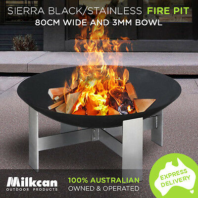NEW Sierra BLACK / STAINLESS Fire Pit 80cm Bowl Outdoor Fireplace Heater Plant