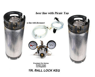 2 x 19L used Ball lock keg system Picnic Tap co2 regulator home brew