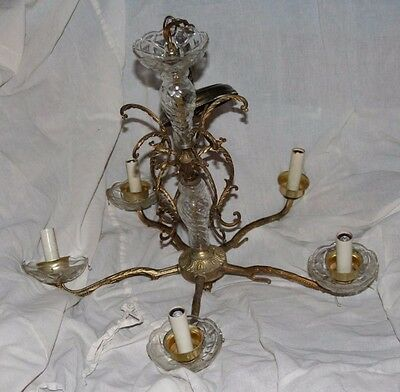 Brass and Glass 5 Armed Chandelier with Hoof Prints and Antler Decoration.