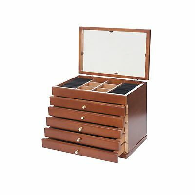 Large wooden Jewellery Box Storage Jewelry Organiser Mirror Ring Necklace Case