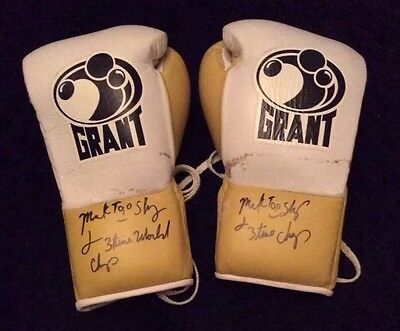 """Mark """"Too Sharp"""" Johnson SIGNED FIGHT WORN Grant Boxing Gloves Game Used"""