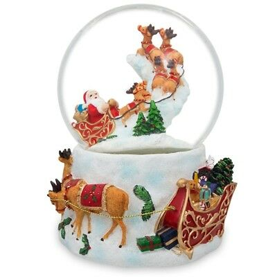 "6.5"" Santa Flying with Reindeer and Sleigh Musical Snow Globe"
