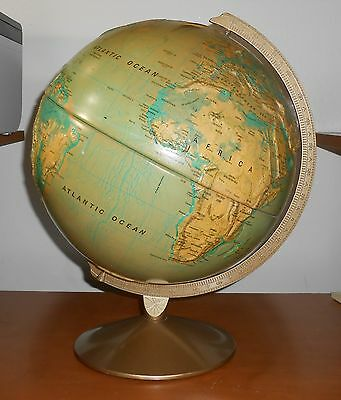 """Old Vintage Planet Earth 12"""" World Globe Map Nystrom Sculptural Relief 12 Inch"""