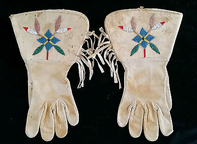Vtg Sioux Indian Buck Skin Beaded Gauntlets