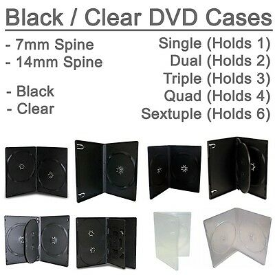 7mm 14mm Black Clear Single Double Triple Quad holds 3 4 6 DVD Disc Cover Case