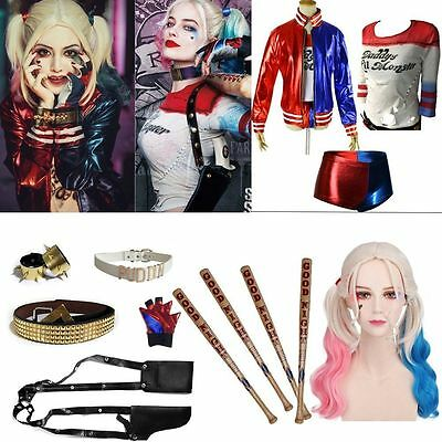 Fashion For Batman Suicide Squad Harley Quinn Cosplay Costume Accessories Lot