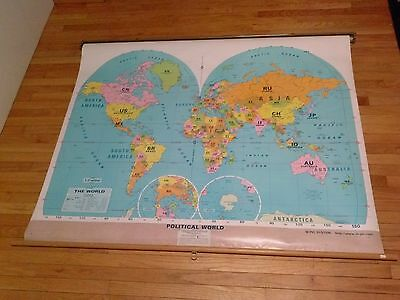 Vintage Pull Down Political World Map  Free S/h 48 U.s. States  Pre Owned