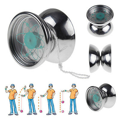 Stainless Steel Professional YoYo Ball 1 Bearing String Trick Toy Tone Silver