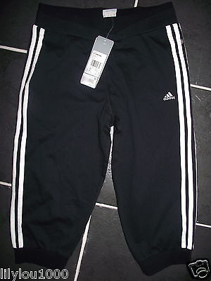 Adidas Black White 3/4 Sports Pants Age 13/14 Nwt