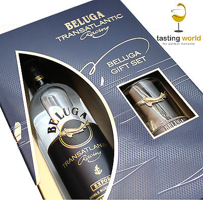GESCHENKSET Beluga Transatlantic Racing Noble Russian Vodka mit Glas / Wodka