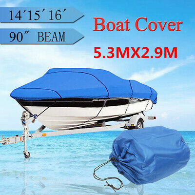 14-16ft Heavy Duty Waterproof Trailerable Marine Boat Cover 90'' Beam Width AU