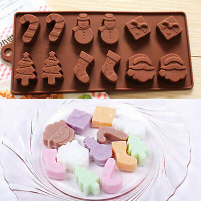 Silicone Chocolate Mould Cake Baking Mold Christmas Snowman Stocking DIY Tool js