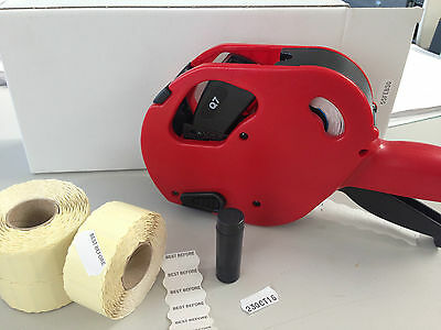 Moto labelling gun labeller date labels and ink roller best before use by
