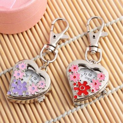 Heart Shape Quartz Watch Flowers Pocket Watch Stainless Steel Key Ring Chain