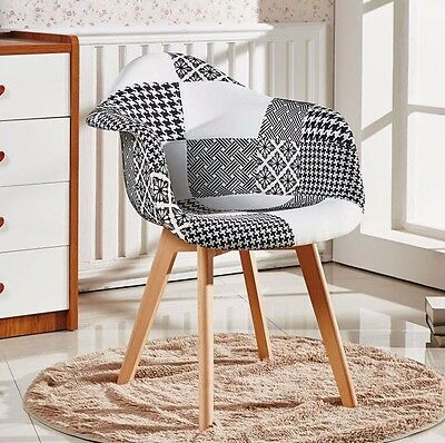 Tulip Tub Chair Patchwork Retro Modern Dining Eiffel Style Scandinavian