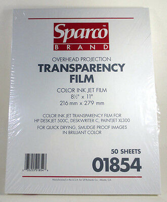 """Sparco Brand Color Ink Jet Transparency Film 50-Sheets 8.5"""" x 11"""" (Brand New)"""