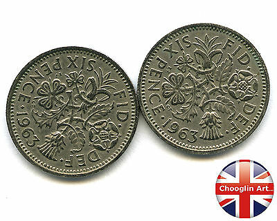 A pair of 1963 British Cupro-Nickel ELIZABETH II SIXPENCE Coins