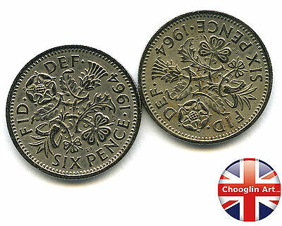 A pair of 1964 British Cupro-Nickel ELIZABETH II SIXPENCE Coins