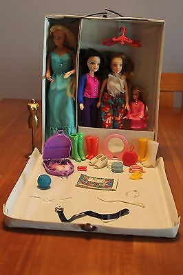 1968 Barbie Doll Case by Mattel, Barbie and Dawn Dolls (4 total) & Accessories