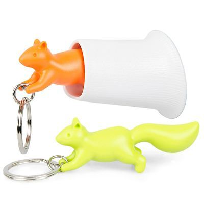 Qualy Squirrel Key Ring Keychain and Holder Wall Hook