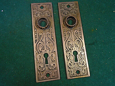 PAIR VINTAGE CAST IRON EASTLAKE BACKPLATES w/BRASS WASH FINISH     (6000-F)