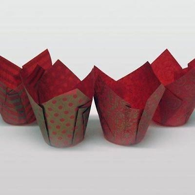 50 Red & Gold Pattern Tulip Muffin Baking Case Wraps