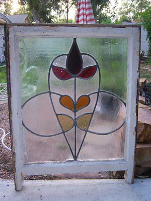 """Antique Stained Glass Window. Hand crafted by England. Size each 23"""" x 30"""""""