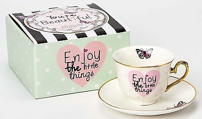 Butterfly Fine Porcelain Tea Cup and Saucer Ladies Gift Boxed