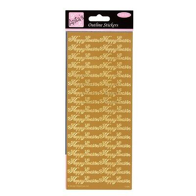 Anita's Peel Offs Outline Gold Happy Easter Stickers | ANT 8101515 | Card Making