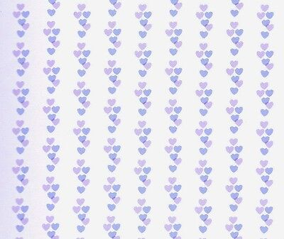 Dolls House 'Sweethearts' Wallpaper - Lilac & Blue Hearts design : in12th scale