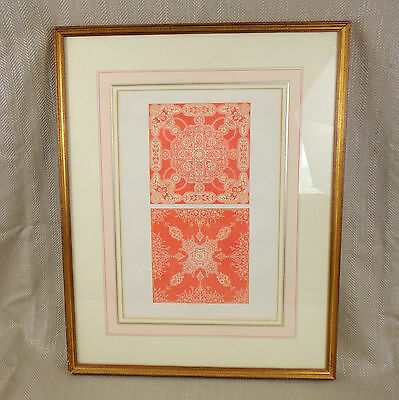 Original Victorian Print 1851 Framed Picture Great Exhibition Textiles Fabric