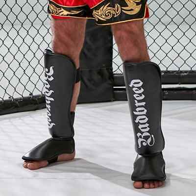 Badbreed Leather Shin Instep Pads MMA Leg Foot Guards Muay Thai Kick Boxing