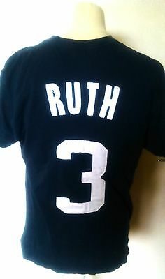 New York Yankees (Babe Ruth 3) Cooperstown Baseball Shirt (Adult Medium)