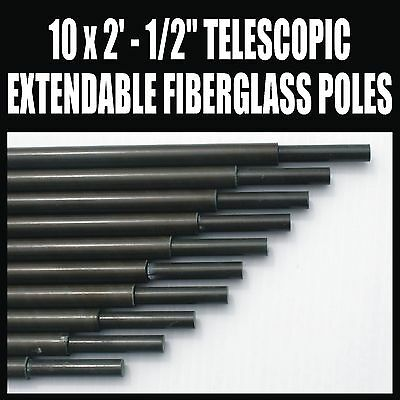 "x10 2' x 1/2"" FIBERGLASS TELESCOPIC EXTENDABLE MAST SET  AMATEUR RADIO ANTENNA"