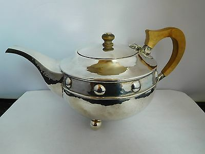 Superb English Solid Sterling Silver Arts & Crafts Teapot - A.e. Jones - 1919