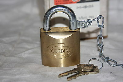 Vintage New Old Stock NOS P & F Corbin Solid Heavy Brass Padlock w Key 92994