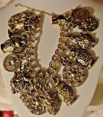Vintage 1947 Signed Cellini Charm Bracelet Loaded Chunky Large Estrucan Coro