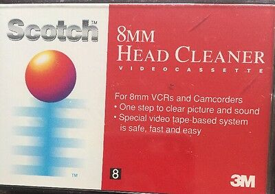 Scotch 8MM Head Cleaner VIdeoCassette For 8MM VCRs And Camcorders