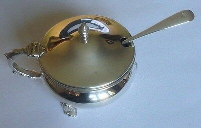 Vintage Hall Marked Silver Mustard Pot,blue Glass Liner And Spoon