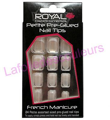 24 faux ongles autocollants petites french manucure - French manicure nails