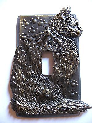 Vtg SP Antique Bronze Metal CAT Kitten Paw Print Single Light Switch Plate Cover