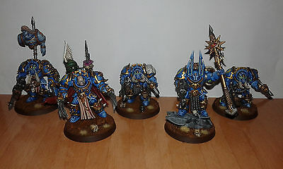 chaos space marines 2 chaos lords + 3  terminators tzeentch pro painted