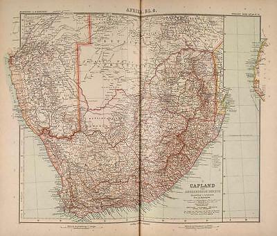 Stielers Hand-Atlas Map 1907 Justus Perthes Gotha South Africa