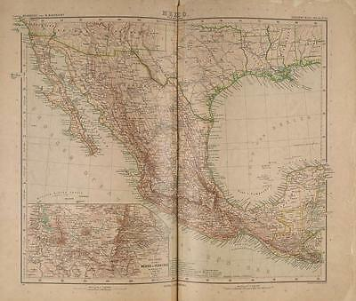 Stielers Hand-Atlas Map 1907 Justus Perthes Gotha Mexic