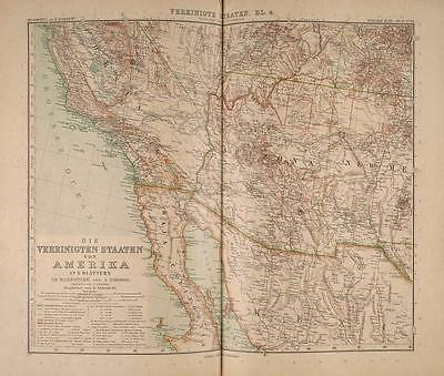 Stielers Hand-Atlas Map 1907 Justus Perthes Gotha United States 89-4