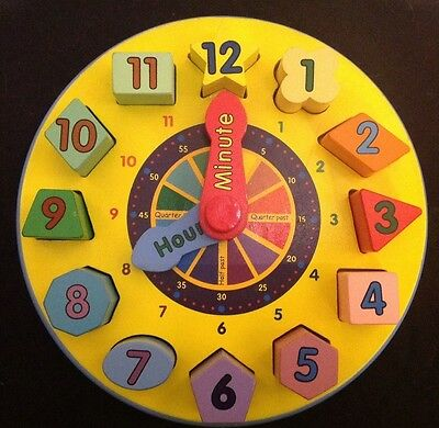 Melissa And Doug Shape Sorting Clock Puzzle Wooden EUC Numbers Time Minutes Hour