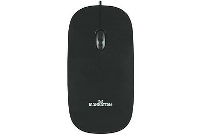 Manhattan USB Optical Mouse with Scroll Wheel, 1000dpi, Black