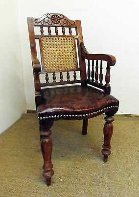 Childs Vintage Bergere Elbow or Amchair with Faux Leather Seat & Cane Back