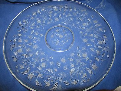 "Htf Fostoria Chintz 17"" Plate With Upturned Edge"